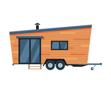Modern Mobile Home for Summer Trip, Family Tourism and Vacation Flat Vector Illustration on White Background.