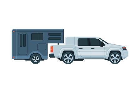 Travel Trailer and Car Crossover, Mobile Home for Trip, Summer Tourism and Vacation Flat Vector Illustration on White Background.