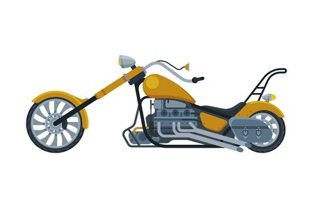 Chopper Motorcycle, Motor Vehicle Transport, Side View Flat Vector Illustration