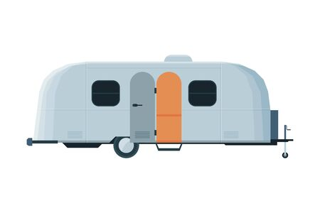 Modern Caravan Trailer, Mobile Home for Summer Trip, Family Tourism and Vacation Flat Vector Illustration on White Background.