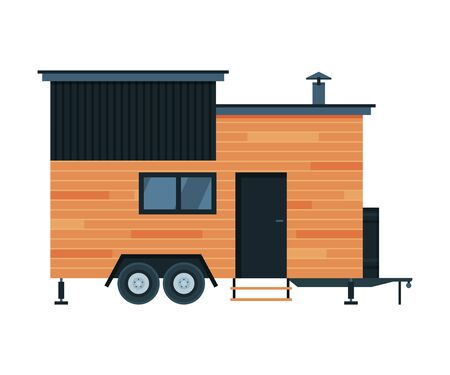 Modern Mobile Home for Summer Trip, Family Travel and Adventures Flat Vector Illustration on White Background.