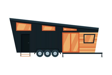 Modern Mobile Home, Family Travel and Adventures Flat Vector Illustration on White Background.