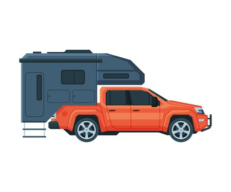Travel Trailer and Car, Mobile Home for Summer Trip, Tourism and Vacation Flat Vector Illustration on White Background.