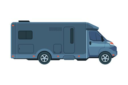 Modern RV Truck, Mobile Home for Summer Trip, Family Tourism and Vacation Flat Vector Illustration
