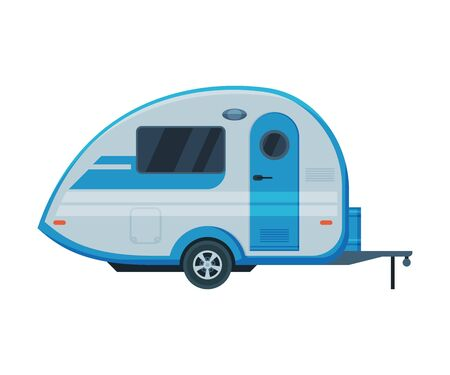 Caravan Trailer, Mobile Home for Summer Travel and Adventures Flat Vector Illustration