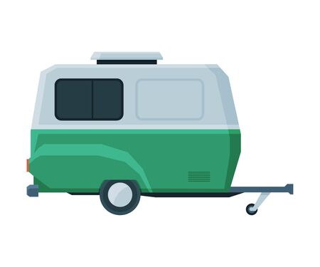 Retro Caravan Trailer, Mobile Home for Summer Travel and Adventures Flat Vector Illustration