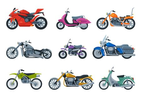 Modern and Retro Motorcycles Collection, Motor Vehicles Transport, Side View Flat Vector Illustration