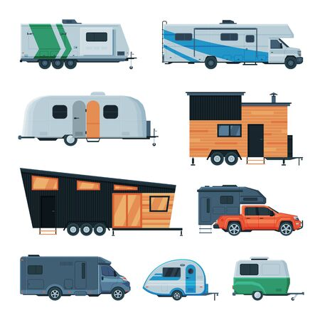 Travel Trailers Collection, Modern Mobile Homes for Summer Trip, Family Tourism and Vacation Flat Vector Illustration