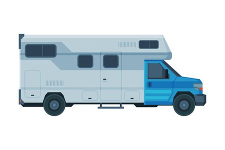 Camper Mobile Home, Mobile Home for Summer Trip, Family Tourism and Vacation Flat Vector Illustration