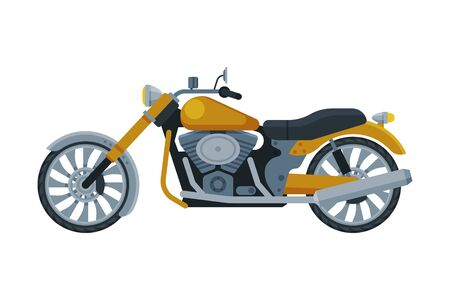 Motorcycle, Motor Bike Vehicle, Side View Flat Vector Illustration