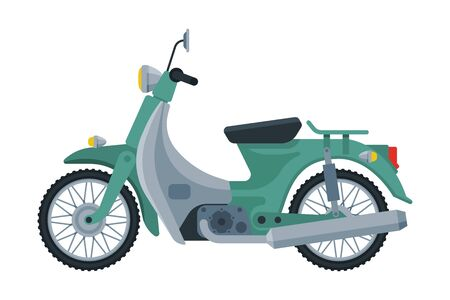 Retro Scooter, Motor Bike Vehicle, Side View Flat Vector Illustration