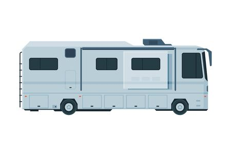 Modern Camping RV Trailer, Mobile Home for Summer Trip, Family Tourism and Vacation Flat Vector Illustration