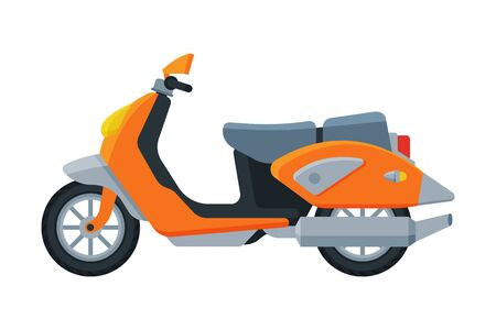 Orange Scooter, Motor Vehicle Transport, Side View Flat Vector Illustration Çizim