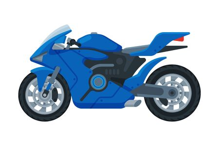 Modern Blue Motorcycle, Motor Vehicle Transport, Side View Flat Vector Illustration