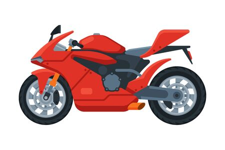 Modern Red Motorcycle, Motor Vehicle Transport, Side View Flat Vector Illustration