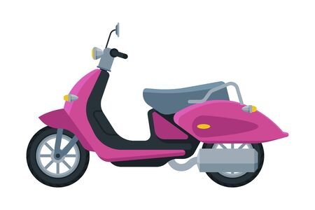 Pink Scooter, Retro Motor Bike Vehicle, Side View Flat Vector Illustration 向量圖像