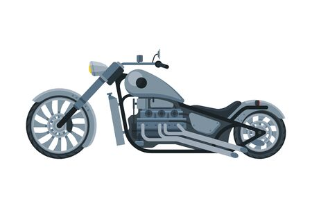 Chopper Motorcycle, Motorbike Vehicle, Side View Flat Vector Illustration