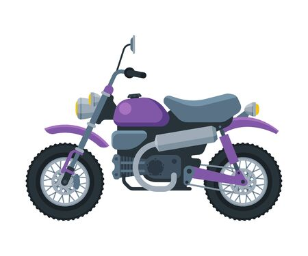 Modern Motorcycle, Motor Bike Vehicle, Side View Flat Vector Illustration