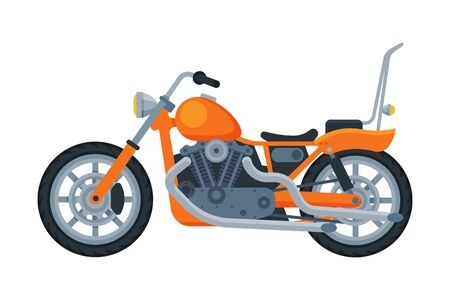 Motorcycle, Orange Motor Bike Vehicle, Side View Flat Vector Illustration 向量圖像