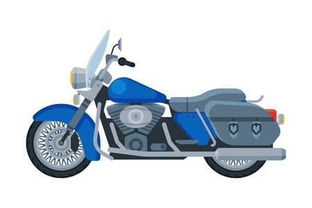 Motorcycle Cruiser, Motor Bike Vehicle, Side View Flat Vector Illustration