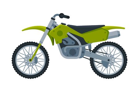 Motorcycle, Green Motor Bike Vehicle, Side View Flat Vector Illustration