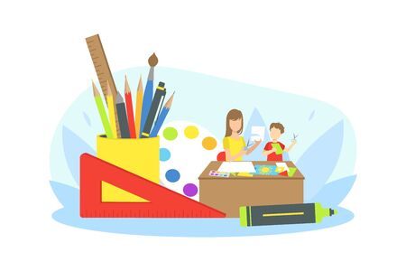 Mother Doing Craft with Her Son at Home, Mother Helping her Child with Homework Vector Illustration