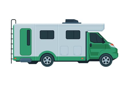 Modern Camper Van, Mobile Home for Summer Trip, Family Tourism and Vacation Flat Vector Illustration
