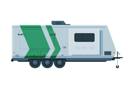 Travel Trailer, Mobile Home for Summer Trip, Family Tourism and Vacation Flat Vector Illustration 向量圖像