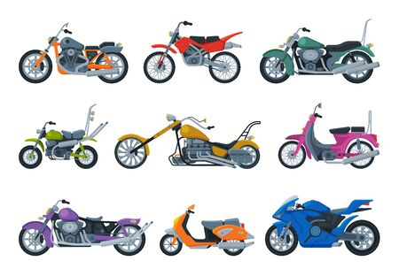 Modern and Retro Motorcycles and Scooters Collection, Motor Bike Vehicles, Side View Flat Vector Illustration 向量圖像