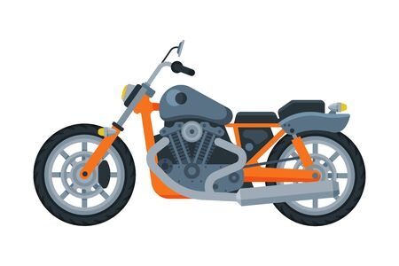 Orange Motorcycle, Motor Vehicle Transport, Side View Flat Vector Illustration 向量圖像