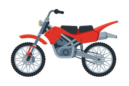 Red Motorcycle, Motor Vehicle Transport, Side View Flat Vector Illustration on White Background.
