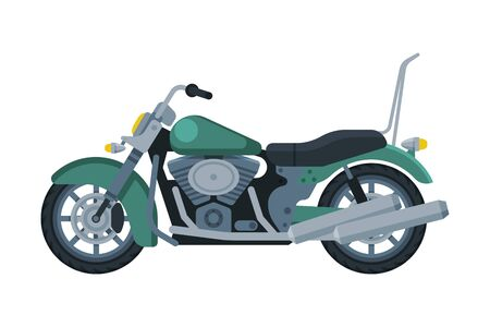 Motorcycle, Motor Vehicle Transport, Side View Flat Vector Illustration on White Background.
