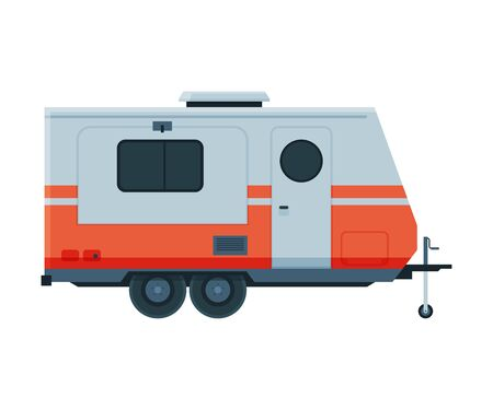 Travel Trailer, Mobile Home for Summer Adventures, Family Tourism and Vacation Flat Vector Illustration on White Background. 向量圖像