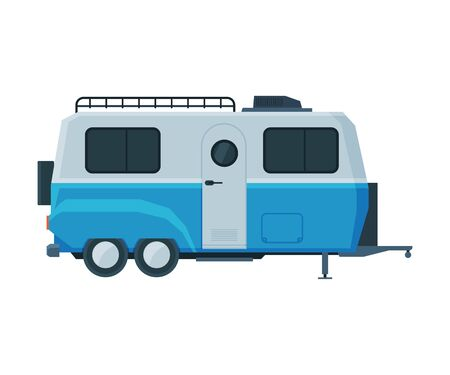 Retro Travel Trailer, Mobile Home for Summer Family Travel and Adventures Flat Vector Illustration on White Background.