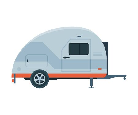 Modern Travel Trailer, Mobile Home for Summer Travel and Adventures Flat Vector Illustration on White Background.