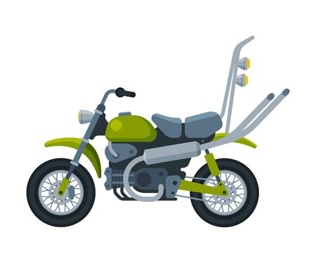 Green Motorcycle, Motor Vehicle Transport, Side View Flat Vector Illustration 向量圖像