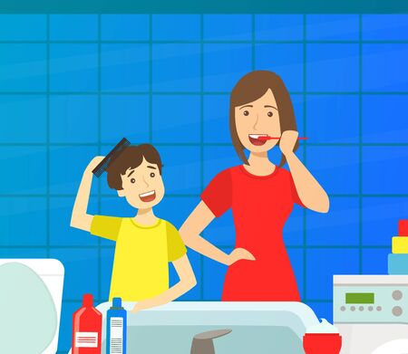 Mother Teaching Son to Clean Teeth, Loving Mom and Her Child in Everyday Life at Home Vector Illustration