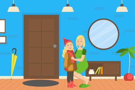 Mother Helping Her Daughter to Get Dressed, Loving Mom and Her Child in Everyday Life at Home Vector Illustration