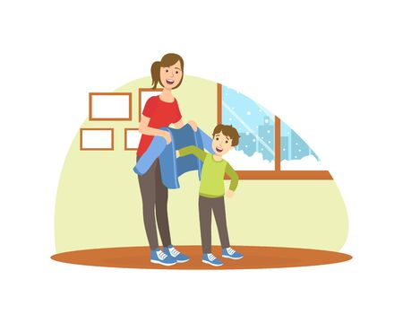 Mother Helping Her Son to Get Dressed, Loving Mom and Her Child in Everyday Life at Home Vector Illustration