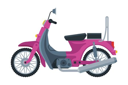 Pink Scooter, Motor Bike Vehicle, Side View Flat Vector Illustration 向量圖像
