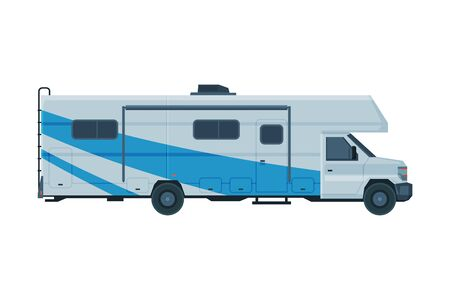 Camper Van, Mobile Home for Summer Trip, Family Tourism and Vacation Flat Vector Illustration