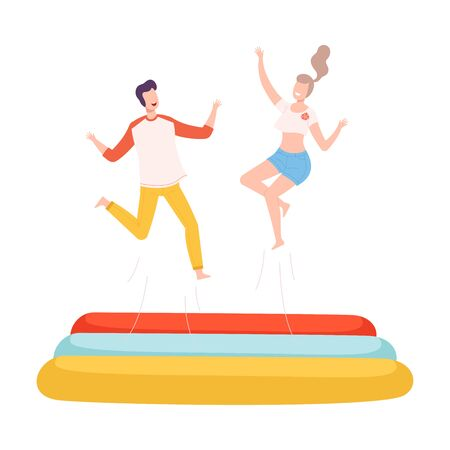 Young Man and Woman Bouncing on Trampoline, Couple Having Fun Together, Active Healthy Lifestyle, Summer Time Attraction Flat Style Vector Illustration