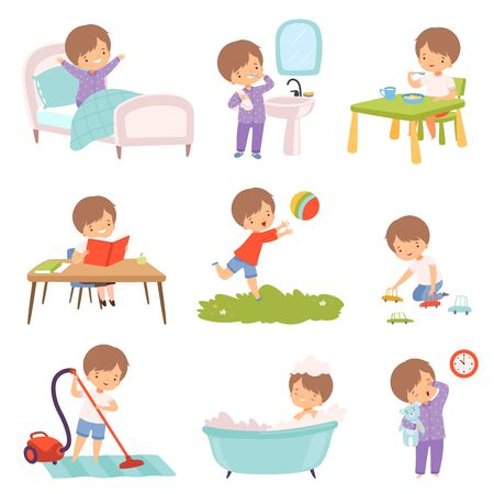 Preschool Kid Daily Routine Activities Set, Cute Boy Waking Up, Brushing Teeth, Eating Breakfast, Reading Book, Playing Toys, Vaccuuming the Floor, Taking Bath Cartoon Vector Illustration 向量圖像