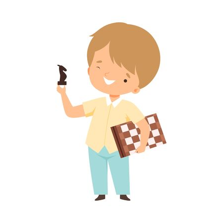 Cute Boy Playing Chess, Kids Hobby or Creative Activity Cartoon Vector Illustration