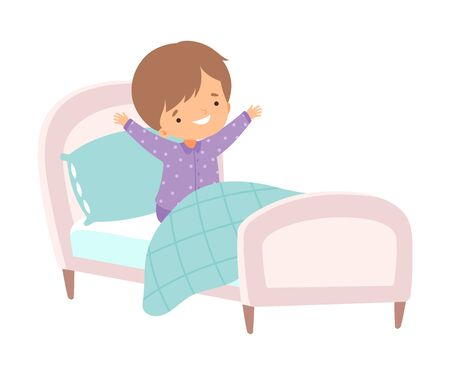 Cute Boy Waking Up and Yawning in the Bed, Preschool Kid Daily Routine Activity Cartoon Vector Illustration