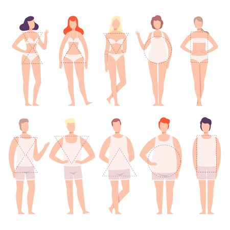 People in White Underwear Set, Five Types of Male and Female Body Shapes, Hourglass, Inverted Triangle, Round, Rectangle, Triangle Flat Style Vector Illustration