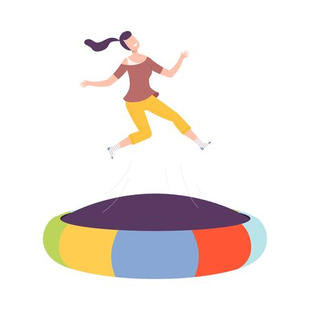 Happy Young Woman Jumpig on Inflatable Trampoline, Active Healthy Lifestyle Flat Style Vector Illustration