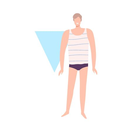 Faceless Man in Underwear, Male Inverted Triangle Body Shape Flat Style Vector Illustration