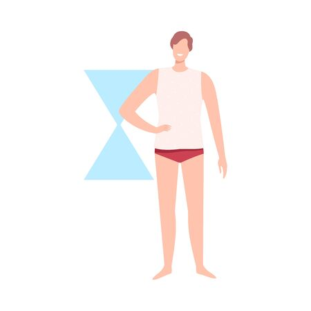 Faceless Man in Underwear, Male Body Hourglass Shape Flat Style Vector Illustration