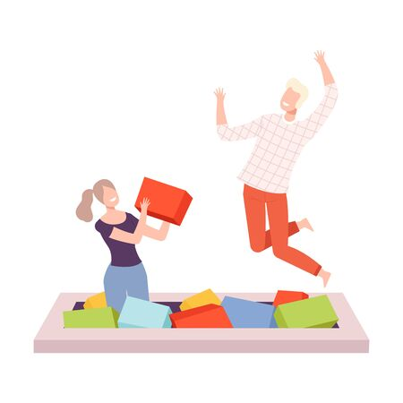 Young Man and Woman Bouncing on Trampoline, Couple Having Fun Together Playing with Soft Cubes, Active Healthy Lifestyle Flat Style Vector Illustration